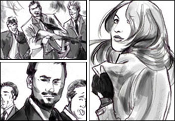 Kathy Berry's People - B&W Tone storyboard art