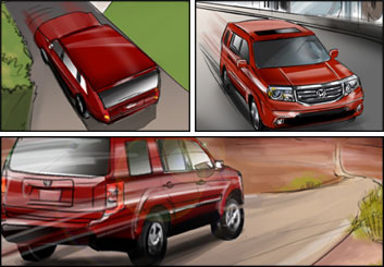 Kathy Berry's Vehicles storyboard art