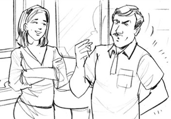 Mark Millicent's People - B&W Line storyboard art