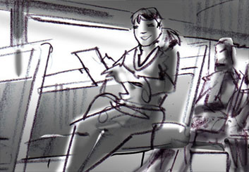 Mark Millicent*'s People - B&W Tone storyboard art